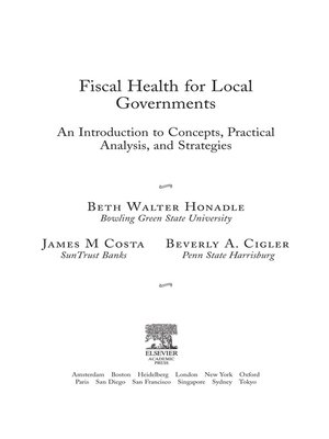 cover image of Fiscal Health for Local Governments