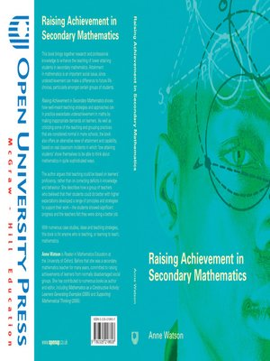 cover image of Raising Achievement in Secondary Mathematics