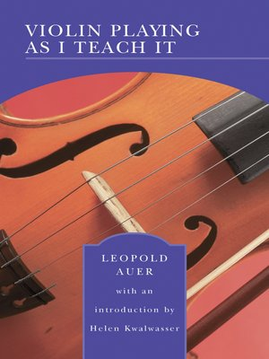 cover image of Violin Playing As I Teach It