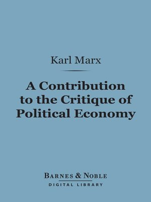 cover image of A Contribution to the Critique of Political Economy