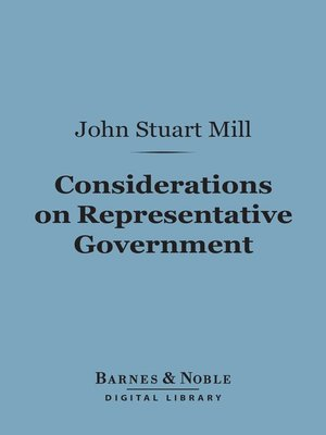 cover image of Considerations on Representative Government