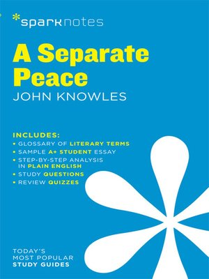 cover image of A Separate Peace: SparkNotes Literature Guide