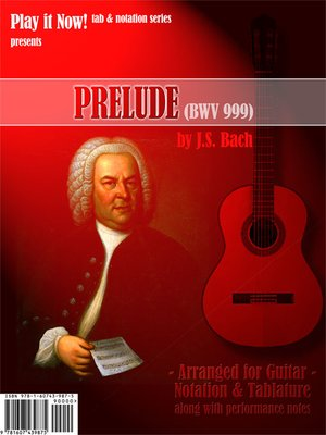 cover image of Bach Prelude BWV-999 Sheet Music & Tab - arranged for classical guitar