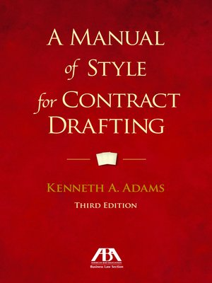 cover image of A Manual of Style for Contract Drafting