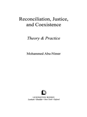 cover image of Reconciliation, Justice, and Coexistence