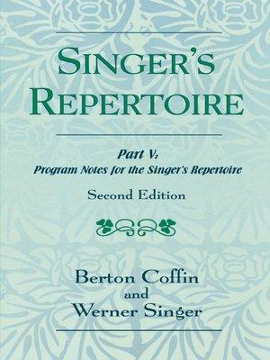cover image of The Singer's Repertoire, Part V