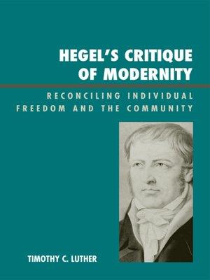cover image of Hegel's Critique of Modernity