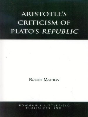 cover image of Aristotle's Criticism of Plato's Republic