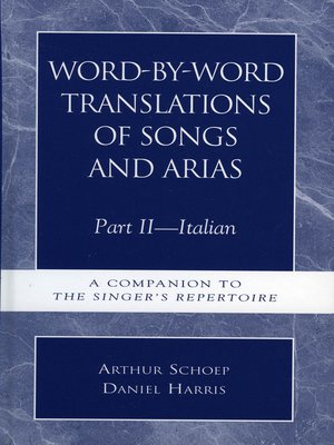 cover image of Word-by-Word Translations of Songs and Arias, Part 2