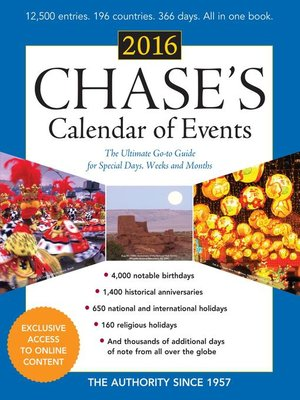 cover image of Chase's Calendar of Events 2016
