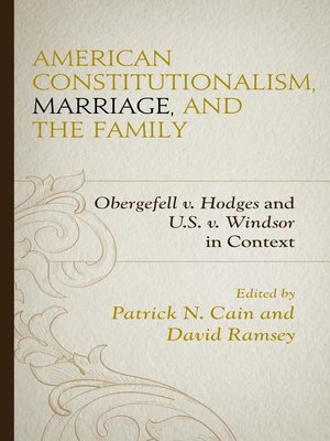 cover image of American Constitutionalism, Marriage, and the Family