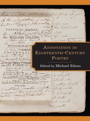 cover image of Annotation in Eighteenth-Century Poetry