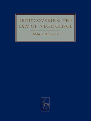 cover image of Rediscovering the Law of Negligence