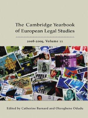 cover image of The Cambridge Yearbook of European Legal Studies, Volume 11
