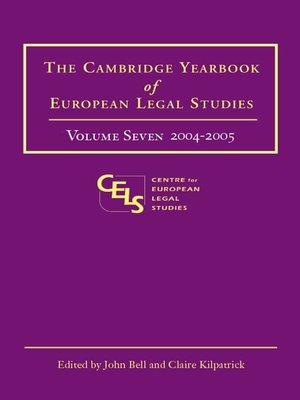 cover image of The Cambridge Yearbook of European Legal Studies, Volume 7