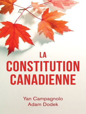 cover image of La Constitution canadienne