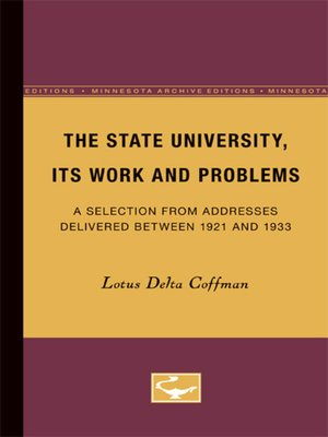 cover image of The State University, Its Work and Problems