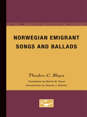 cover image of Norwegian Emigrant Songs and Ballads