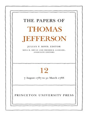cover image of The Papers of Thomas Jefferson, Volume 12