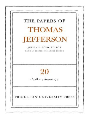 cover image of The Papers of Thomas Jefferson, Volume 20