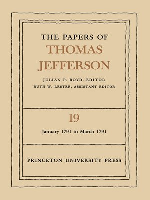 cover image of The Papers of Thomas Jefferson, Volume 19