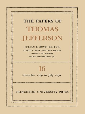 cover image of The Papers of Thomas Jefferson, Volume 16
