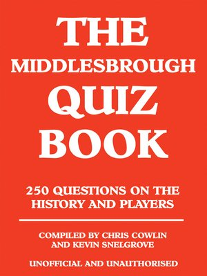 cover image of The Middlesbrough Quiz Book