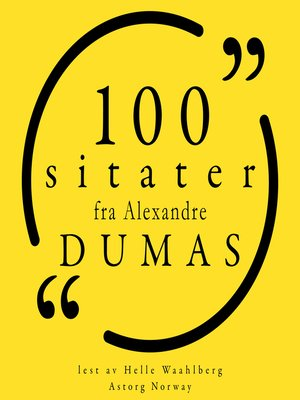 cover image of 100 sitater fra Alexandre Dumas