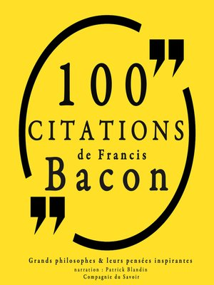 cover image of 100 citations de Francis Bacon