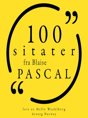 cover image of 100 sitater fra Blaise Pascal