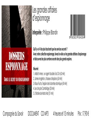 cover image of Les plus grandes affaires d'espionnage