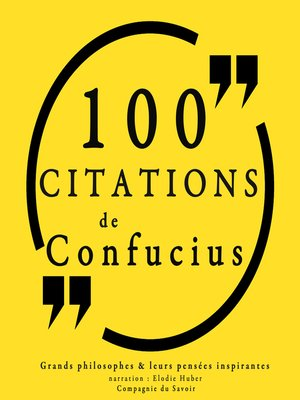 cover image of 100 citations de Confucius