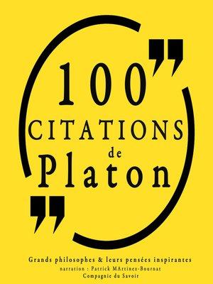 cover image of 100 citations de Platon