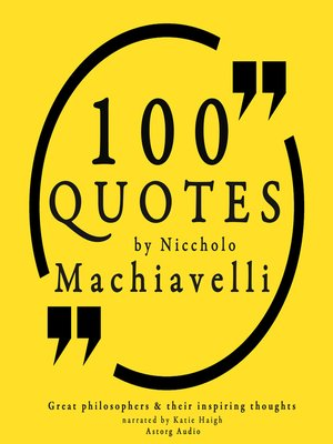 cover image of 100 Quotes by Niccholo Macchiavelli