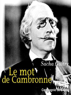 cover image of Le mot de Cambronne
