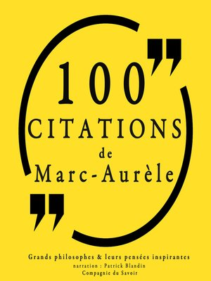 cover image of 100 citations de Marc-Aurèle