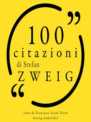 cover image of 100 citazioni di Stefan Zweig