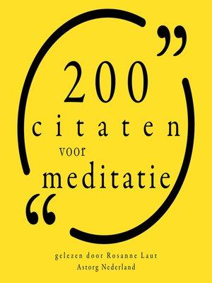 cover image of 200 citaten voor meditatie