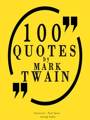 cover image of 100 Quotes by Mark Twain