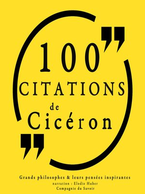 cover image of 100 citations de Cicéron
