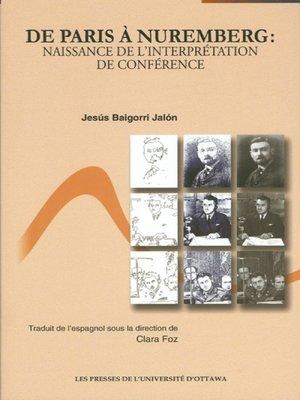 cover image of De Paris à Nuremberg