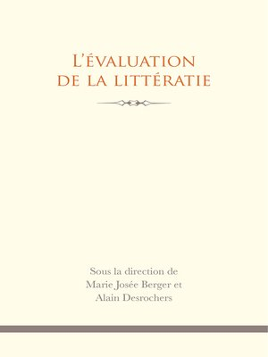 cover image of L' Évaluation de la littératie