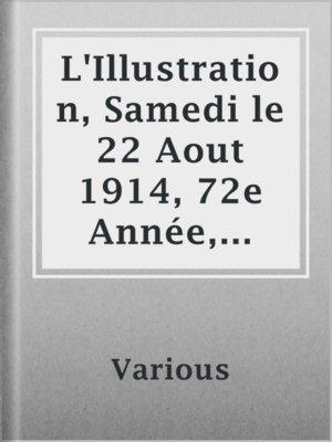 cover image of L'Illustration, Samedi le 22 Aout 1914, 72e Année, No. 3730