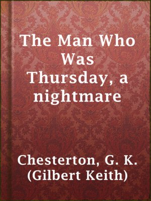 cover image of The Man Who Was Thursday, a nightmare