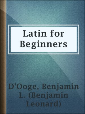 cover image of Latin for Beginners