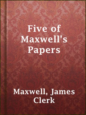 cover image of Five of Maxwell's Papers