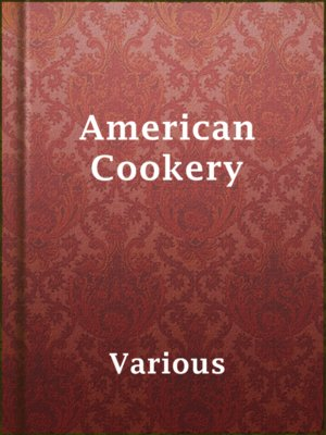 cover image of American Cookery