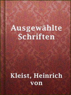 cover image of Ausgewählte Schriften