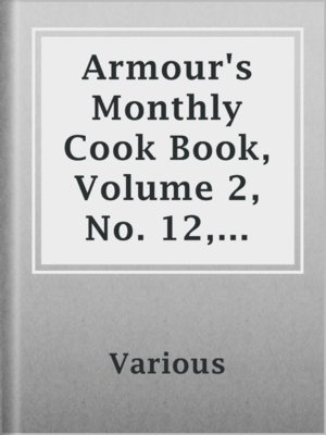 cover image of Armour's Monthly Cook Book, Volume 2, No. 12, October 1913
