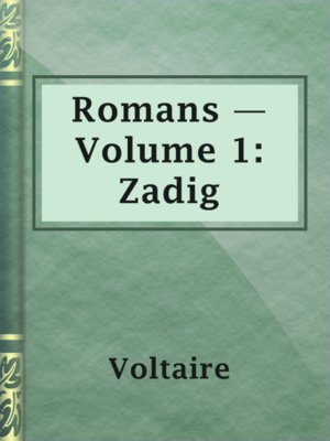 cover image of Romans — Volume 1: Zadig